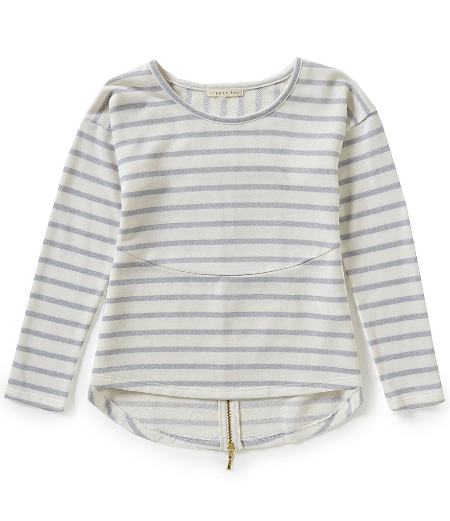 Copper Key Big Girls 7-16 Striped Zipper Top