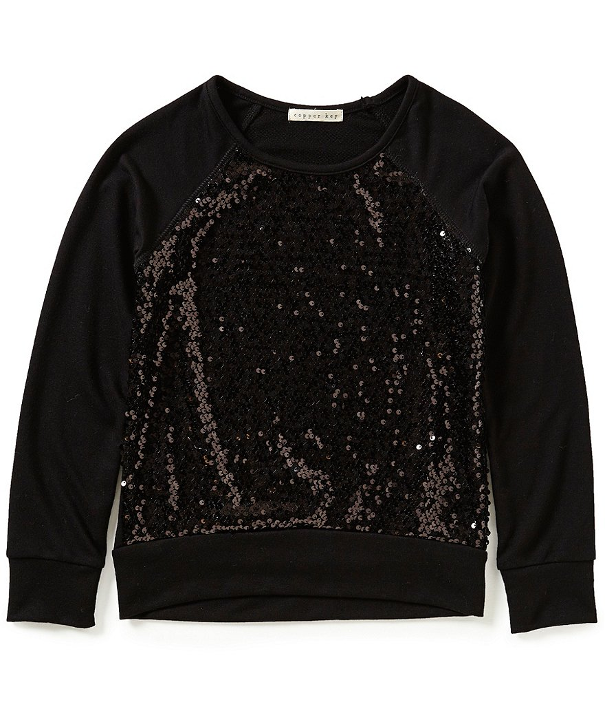 Copper Key Big Girls 7-16 Long-Sleeve Sequined Knit Top
