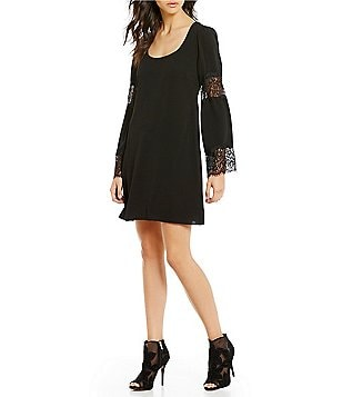 Jessica Simpson Lace Bell-Sleeve Shift Dress
