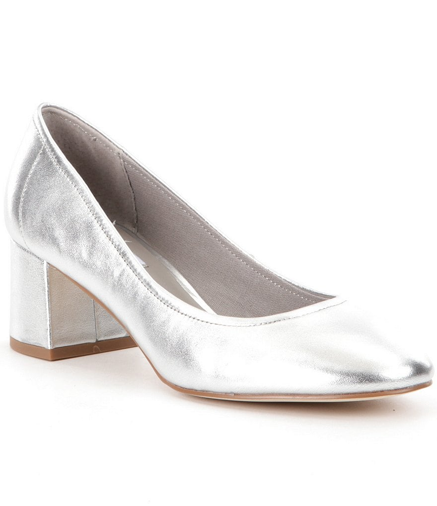Steve Madden Tomorrow Metallic Leather Slip On Block Heel Pumps