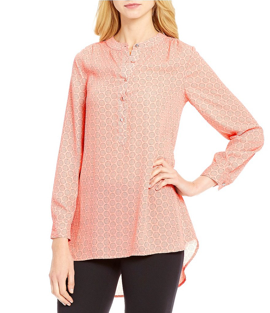 CeCe Scalloped Flower Button Front Crepe Tunic