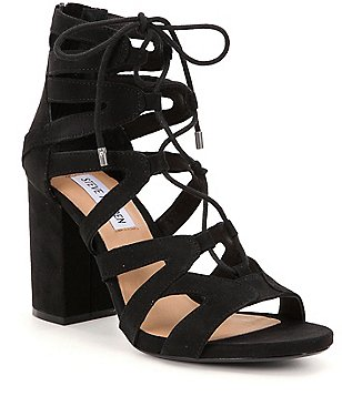 Steve Madden Gal Suede Ankle Tie Block Heel Dress Sandals