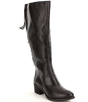Steve Madden Lace Up Wide Shaft Tall Leather Riding Boots