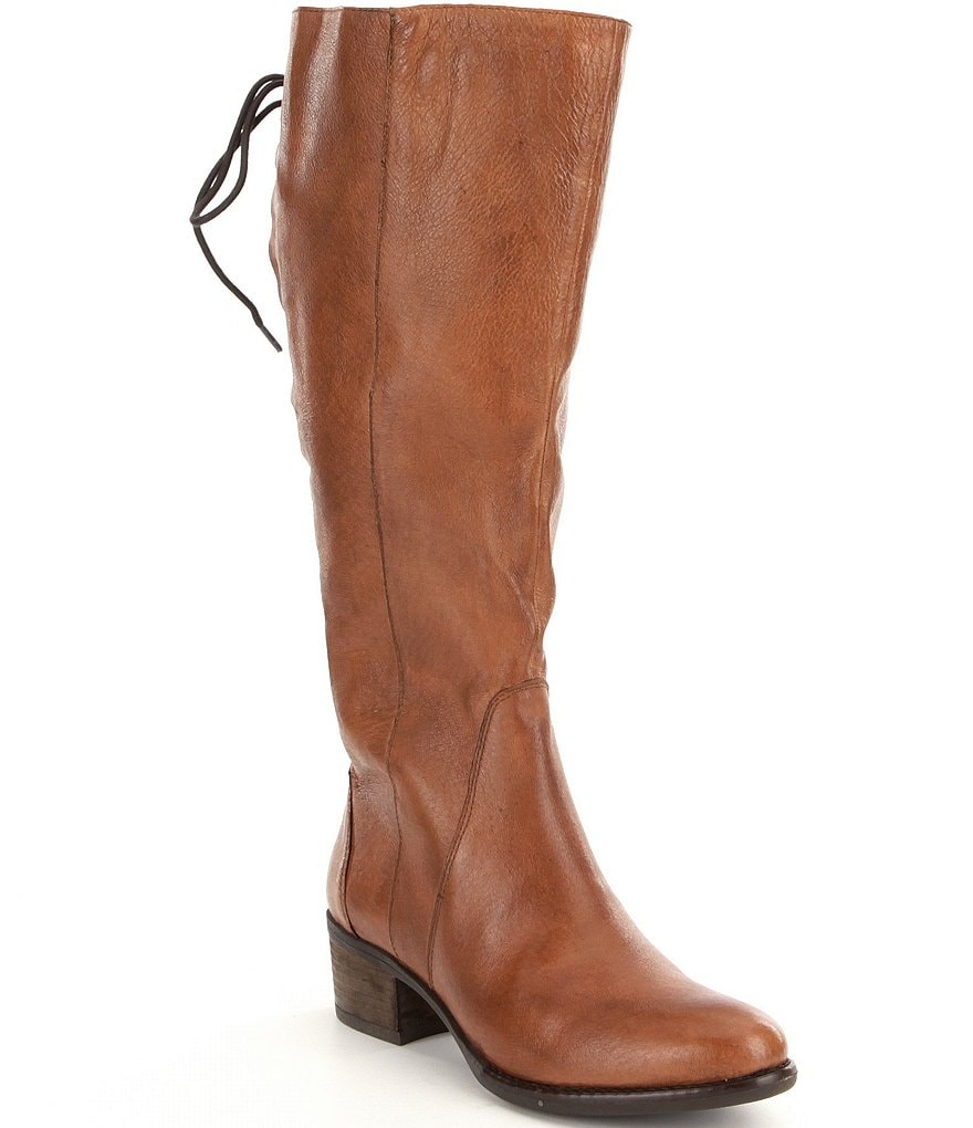 Steve Madden Lace Up Wide Shaft Tall Leather Boots