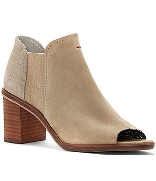 ED Ellen DeGeneres Samora Leather Slip-On Peep Toe Block Heel Booties