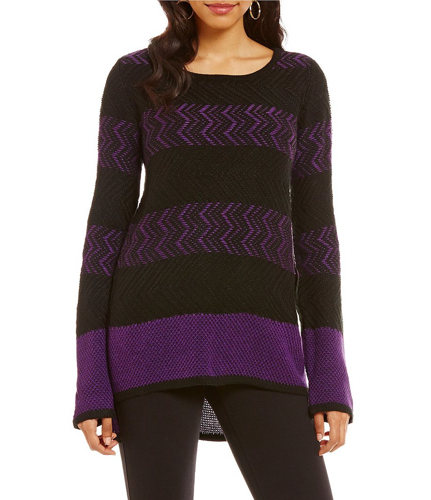 Westbound Square Hem Stripe Slouchy Tunic Sweater