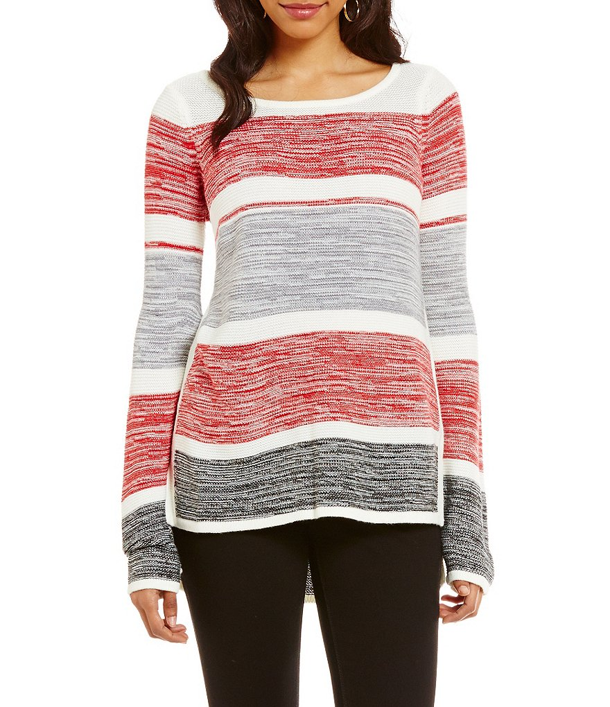 Westbound Square Hem Stripe Slouchy Sweater