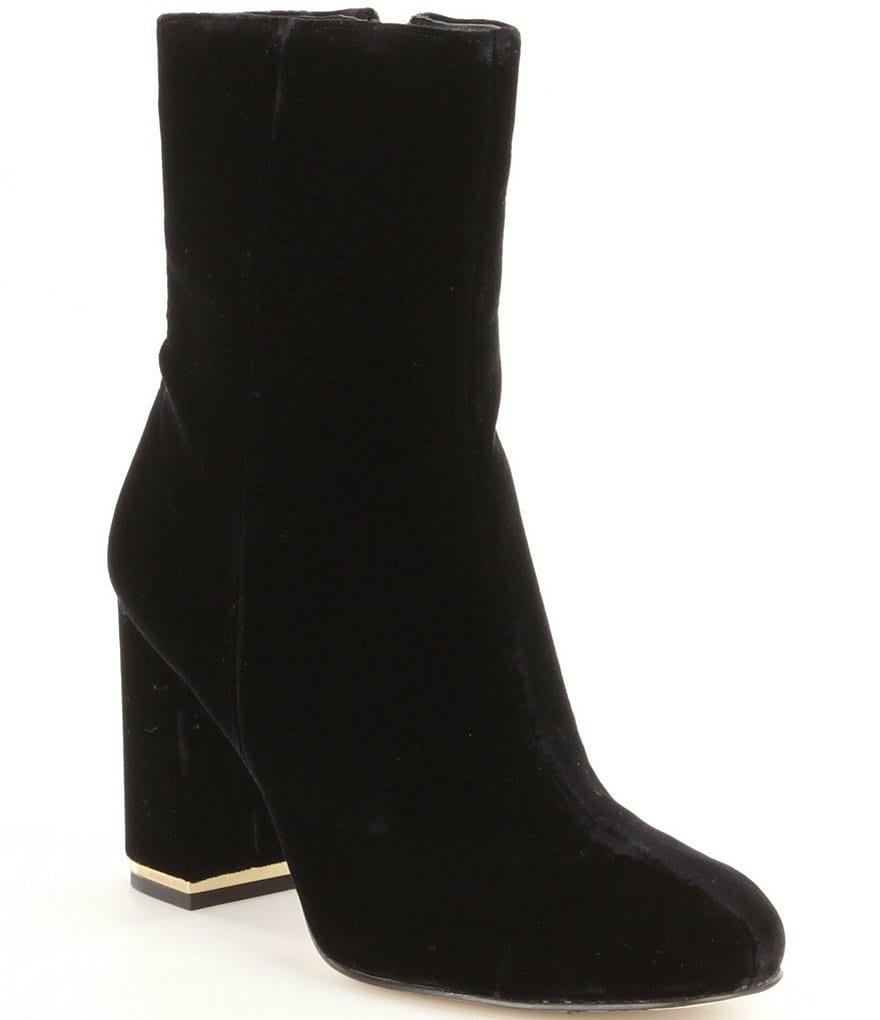 MICHAEL Michael Kors Ursula Velvet Zip Metallic Trim Block Heel Booties