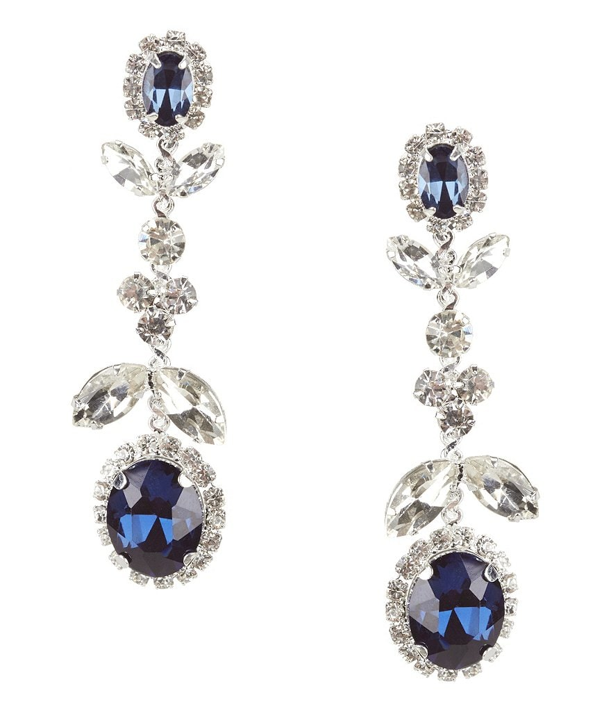 Cezanne Floral Rhinestone Drop Earrings