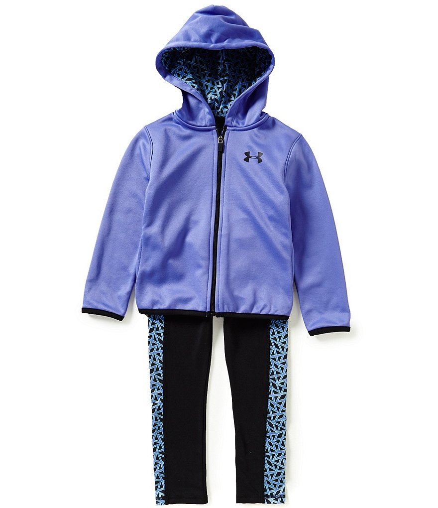 Under Armour Little Girls 2T-6X Chain-Grid Hoodie & Leggings Set
