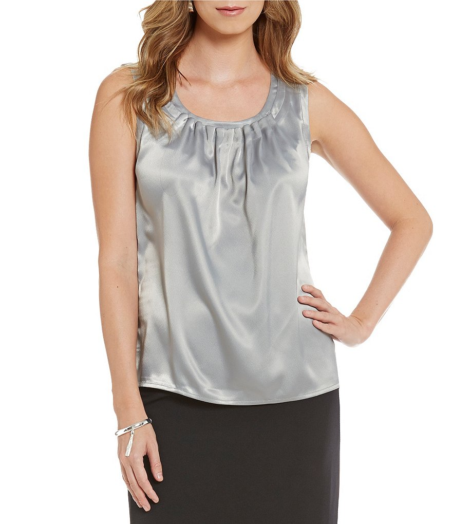 Kasper Solid Charmeuse Pleat-Neck Top