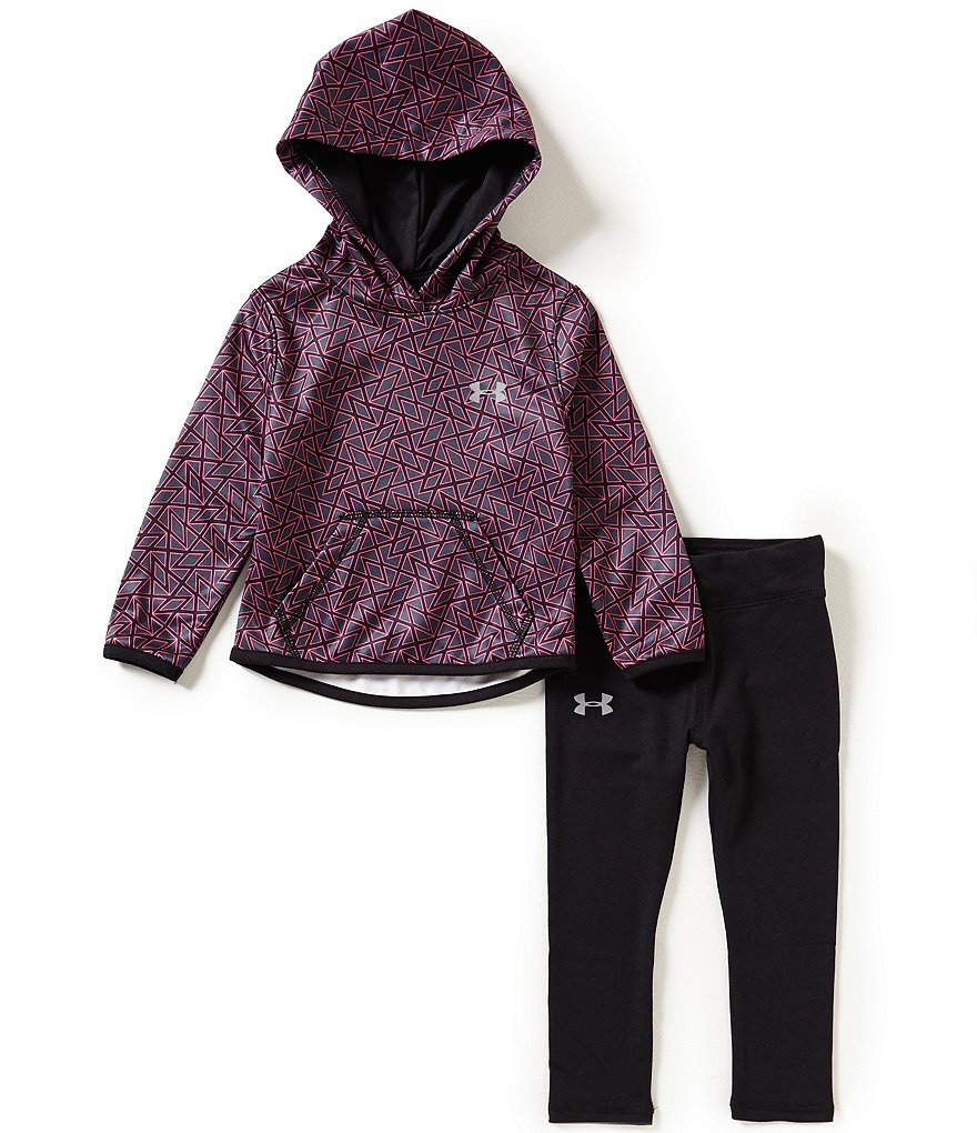 Under Armour Little Girls 2T-6X Chain-Grid Hoodie and Leggings Set