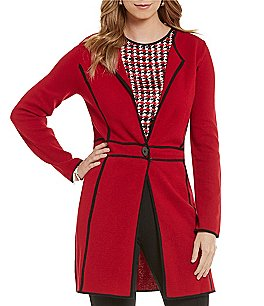 Kasper Long-Sleeve Duster Knit Jacket Image