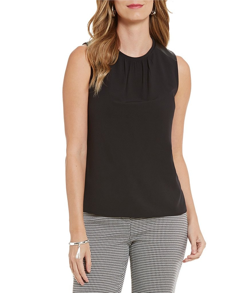 Kasper Sleeveless Pleated Faux-Leather Trim Top