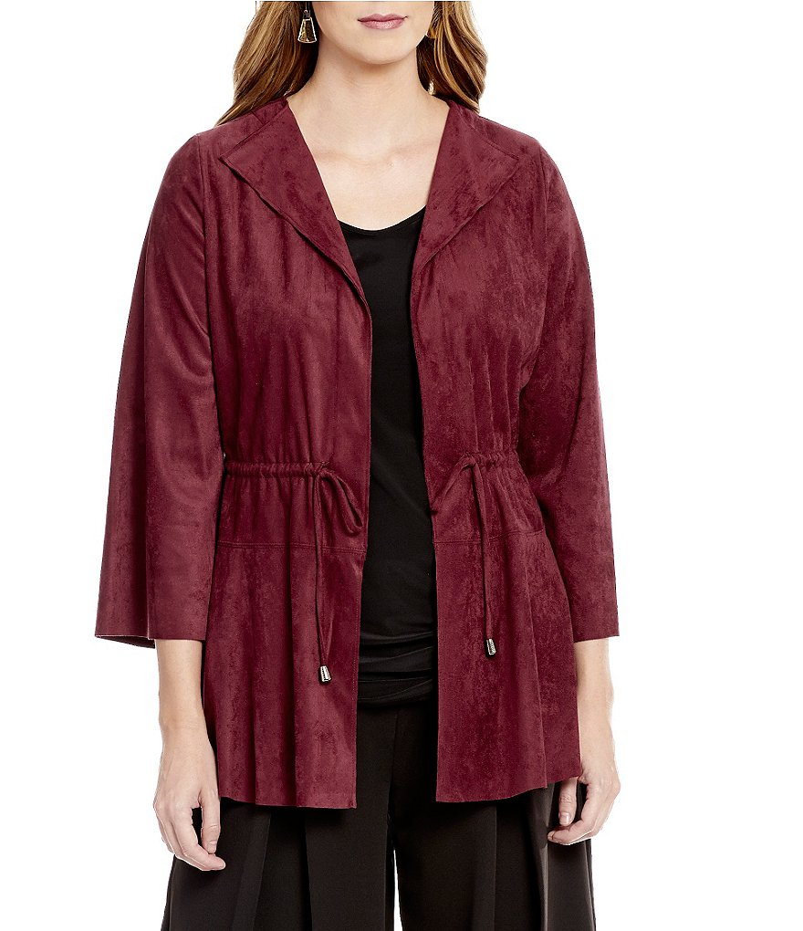 IC Collection Faux-Suede 3/4 Sleeve Drawstring Jacket