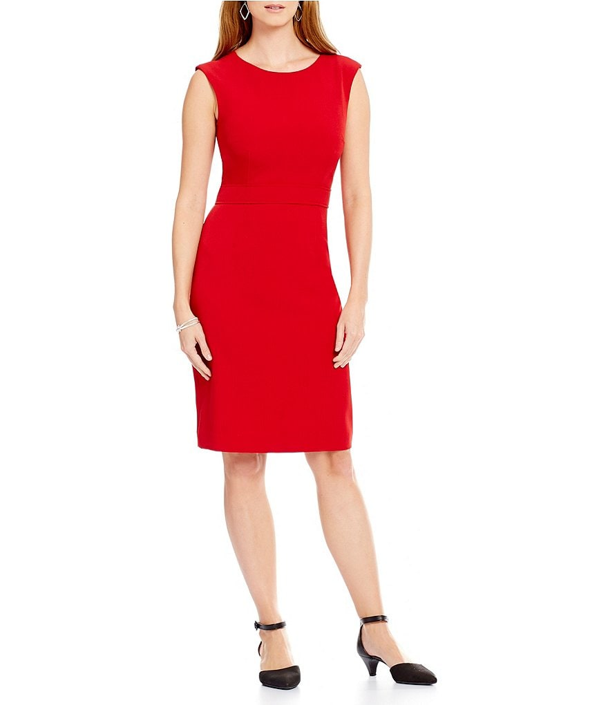 Kasper Sleeveless Solid Sheath Dress