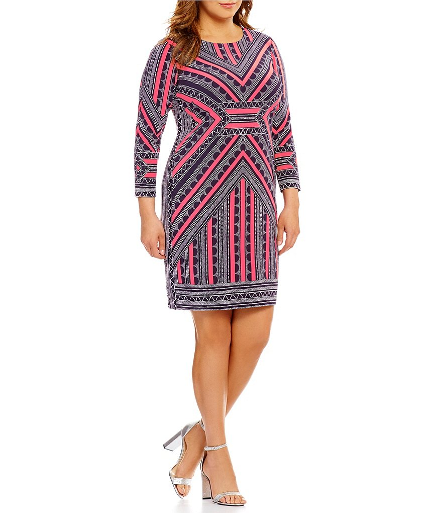 Vince Camuto Plus Printed Crepe Bodycon Dress