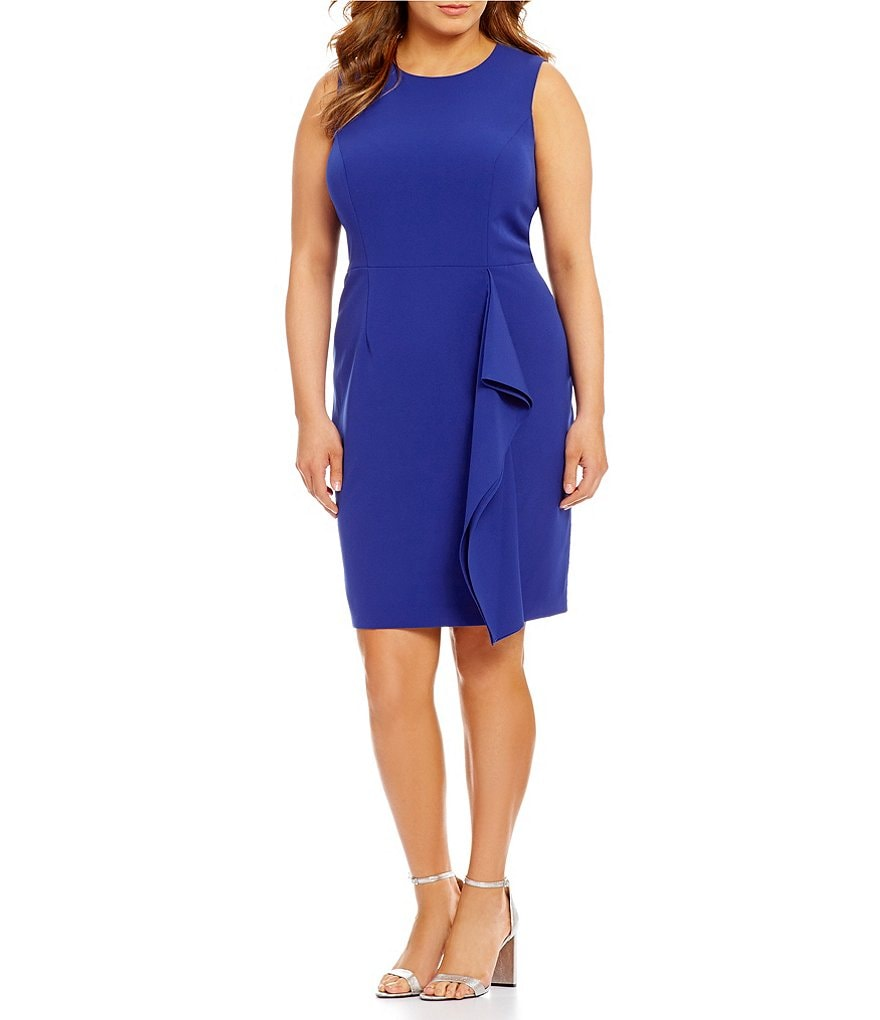 Vince Camuto Plus Crepe Side Ruffle Bodycon Dress
