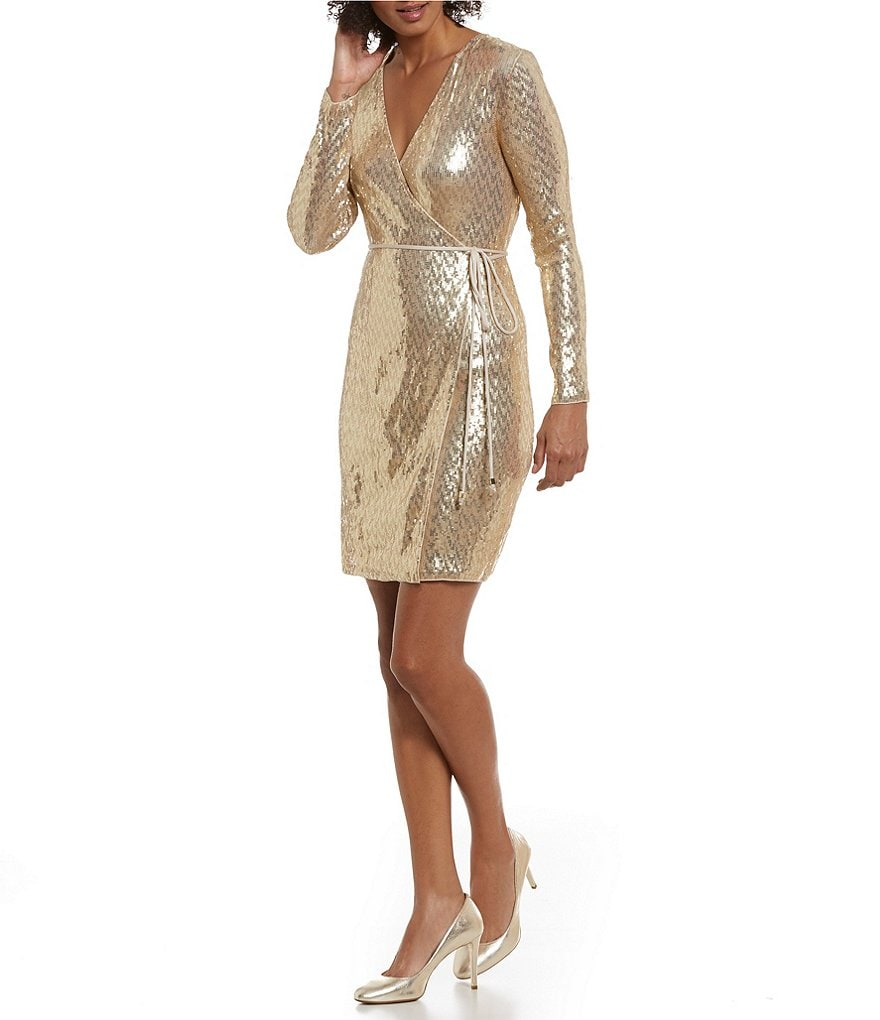 MICHAEL Michael Kors Faux Wrap Sequin Dress