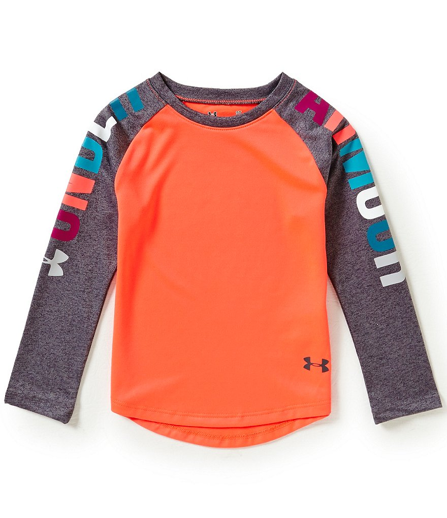 Under Armour Little Girls 2T-6X Multi-Colored Raglan-Sleeve Logo Tee