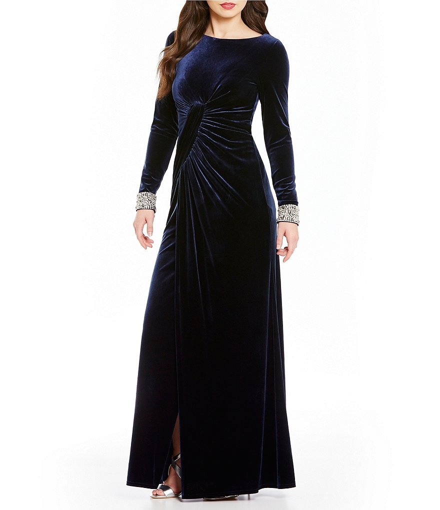 Vince Camuto Bead Cuff Velvet Long Sleeve Gown