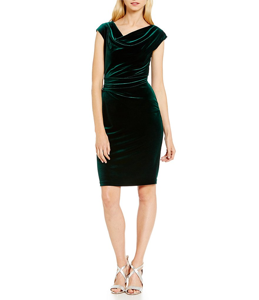 Vince Camuto Cowl Neck Cap Sleeve Velvet Dress