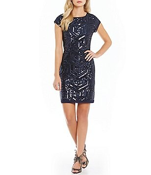 Vince Camuto Geo Sequin Shift Dress