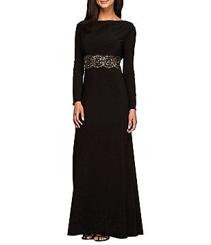 Alex Evenings Beaded Cowl Back Long Sleeve Beaded Waist Dress