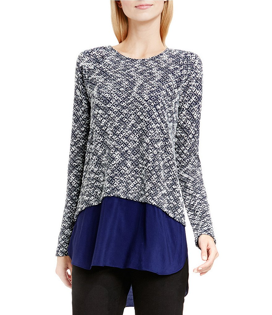 Two By Vince Camuto Boucle Knit with Woven Shirttail