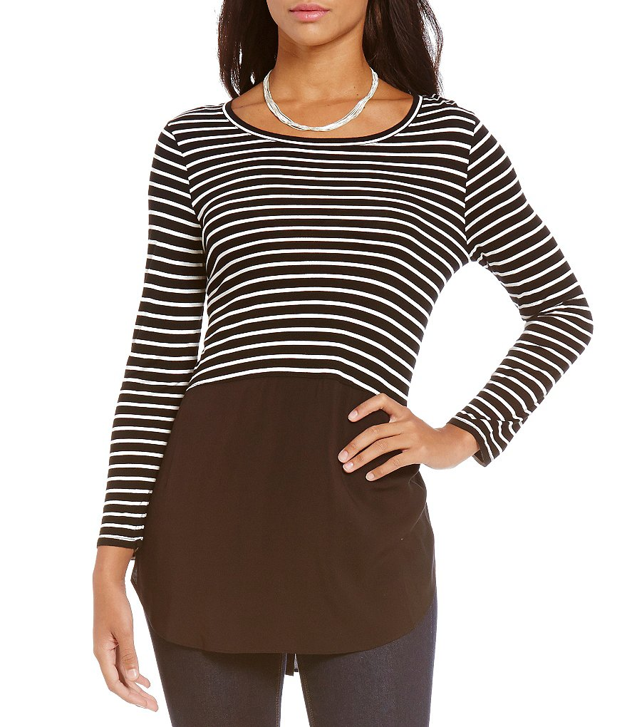 Two By Vince Camuto V-Neck 3/4 Sleeve Curb Stripe Tunic
