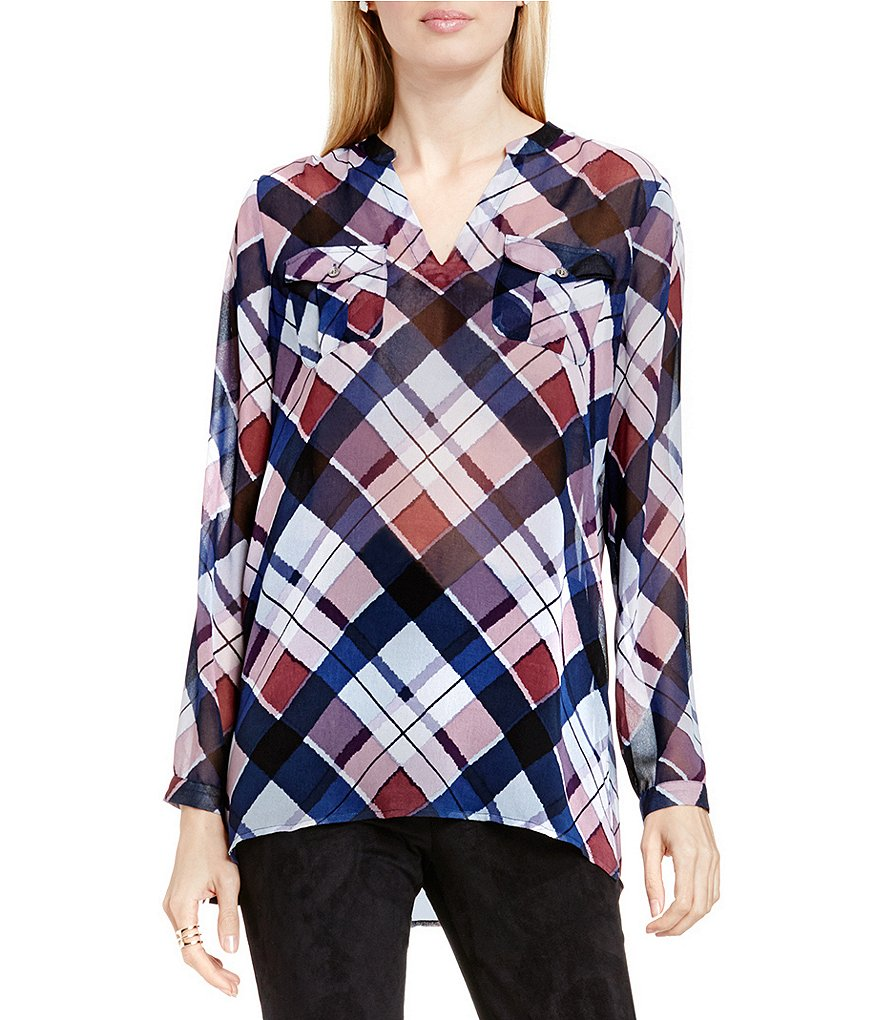Two By Vince Camuto Long Sleeve Plaid Fable Tunic