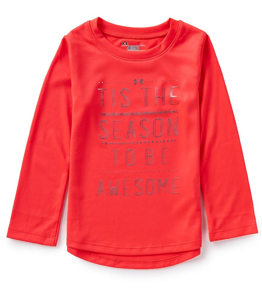 Under Armour Little Girls 2T-6X Tis The Season Long-Sleeve Christmas Tee