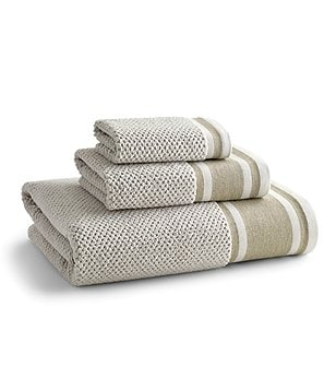 Kassatex Piccadilly Linen-Cuffed Egyptian Cotton Bath Towels