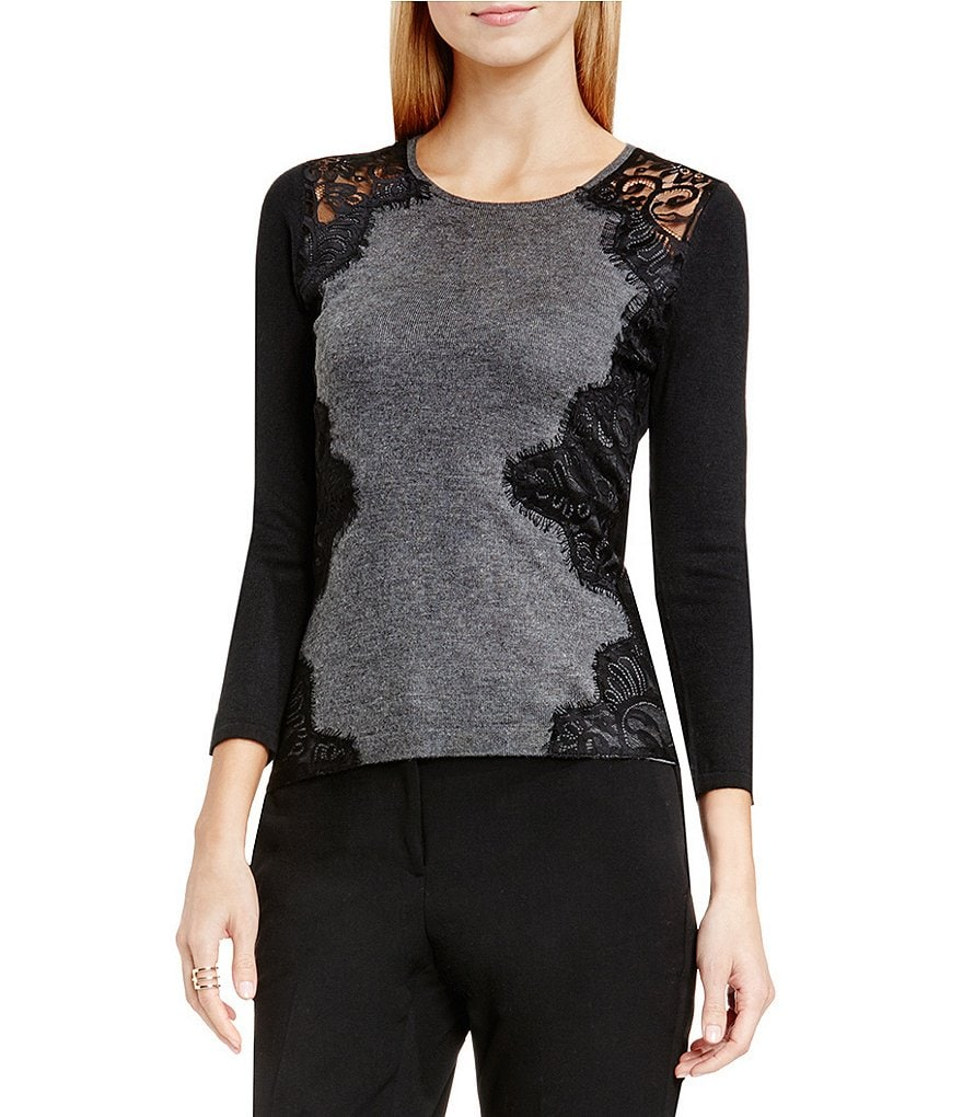 Vince Camuto Crew Neck Long Sleeve Lace Trimmed Sweater