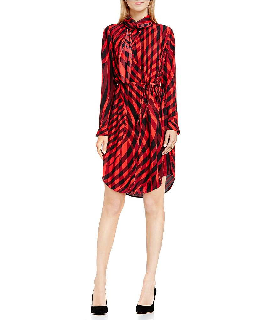 Vince Camuto Swept Check Crew Neck Belted Dress