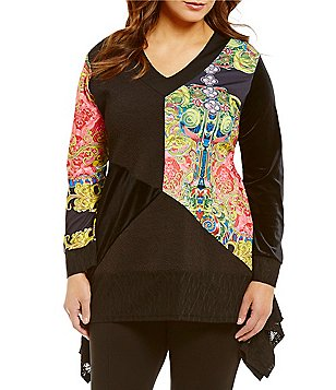 Calessa Plus Abstract Patchwork Long Sleeve Sharkbite Hem Tunic