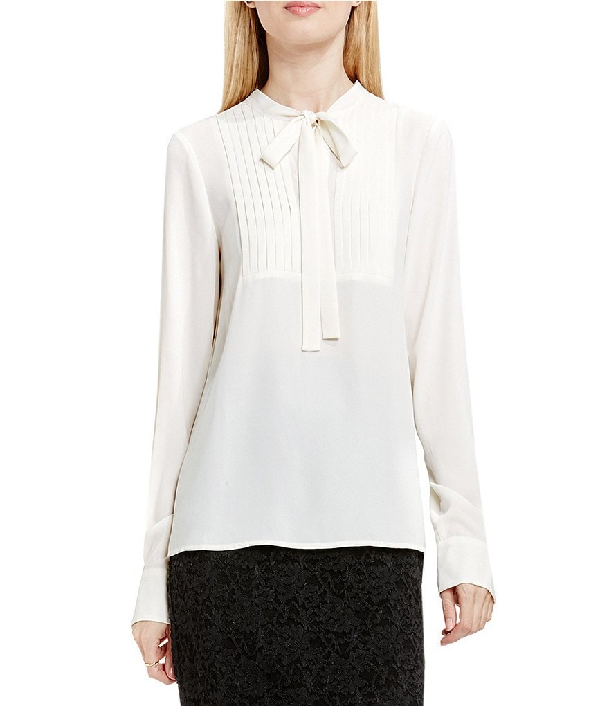 Vince Camuto Tie Neck Long Sleeve Pleated Tuxedo Blouse
