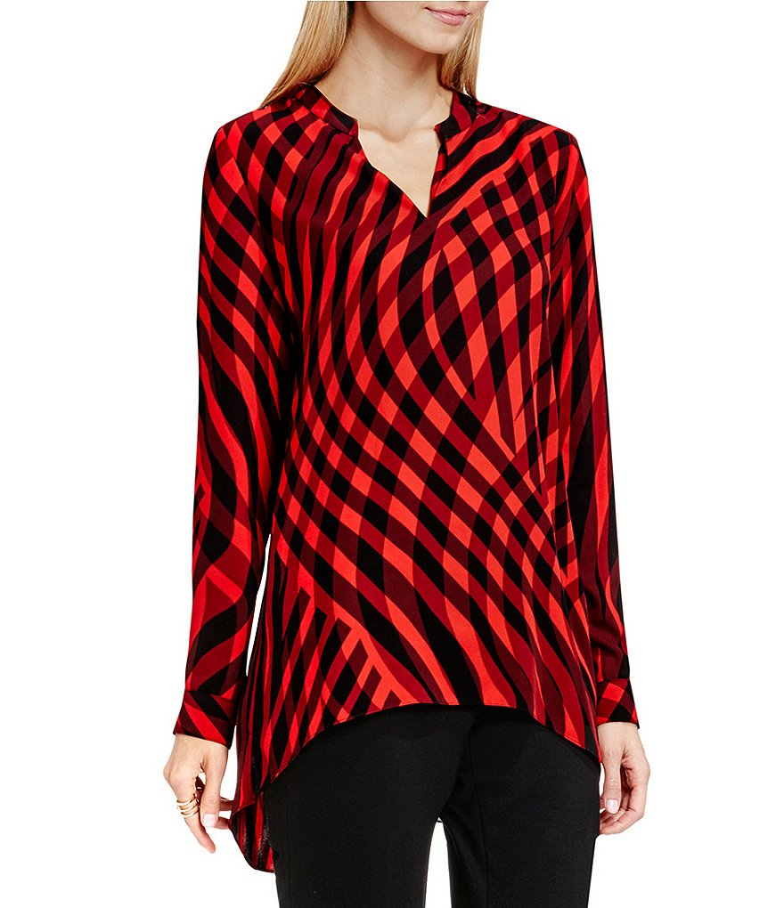 Vince Camuto Swept Check Long Sleeve Blouse