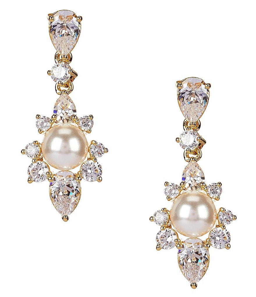 Nadri Isolde Pearl Cubic Zirconia Drop Earrings