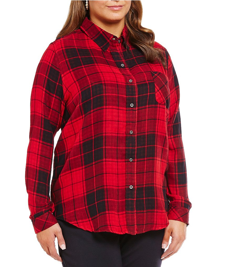 Westbound Plus Long Sleeve Mixed Media Button-Front Shirt