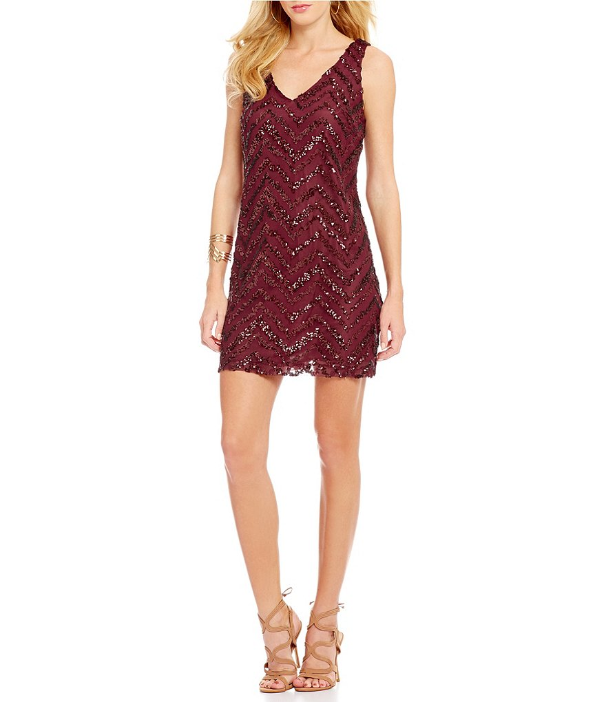 BB Dakota Mayfair Zig Zag Sequin Sleeveless Dress