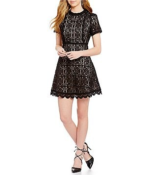 BB Dakota Adelina Mock Neck Lace Fit-And-Flare Dress