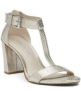 Kenneth Cole New York Daisy Metallic Snake Embossed Block Heel Dress Sandals