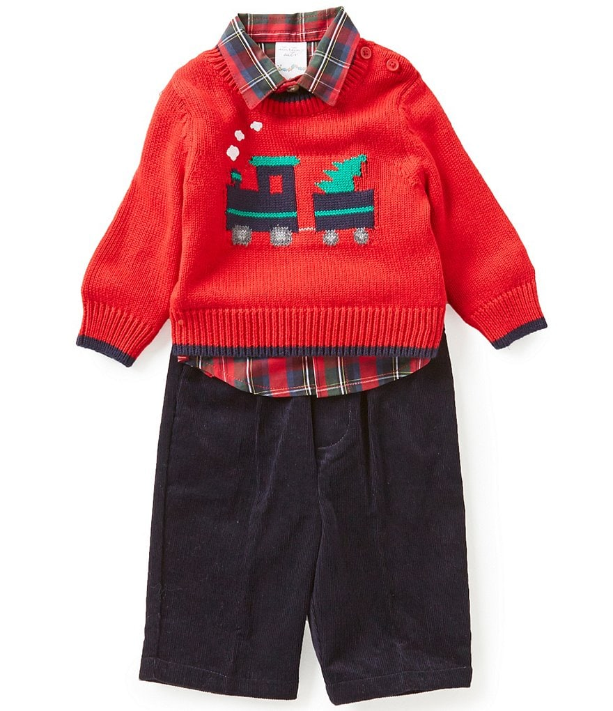 Starting Out Baby Boys 3-24 Months 3-Piece Christmas Tree Train Sweater, Shirt, and Pants Set