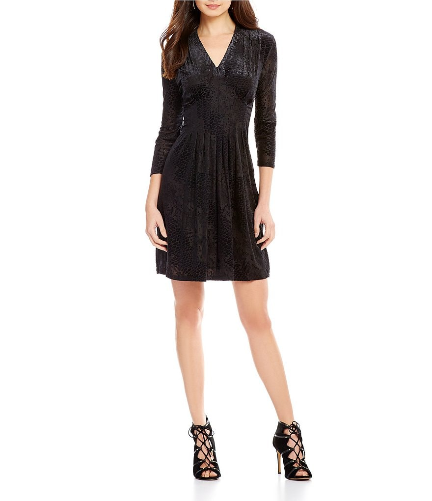 CATHERINE Catherine Malandrino Tinka Fit-and-Flare Burnout Velvet 3/4 Sleeve Dress