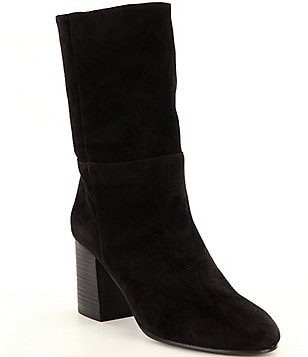 Eileen Fisher Cinch Suede Pull On Block Heel Boots
