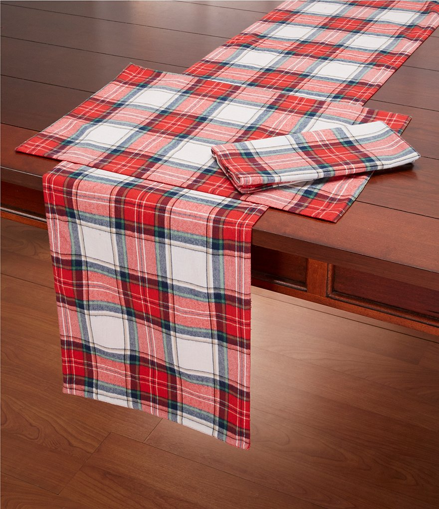Southern Living Plaid Cotton Table Linens