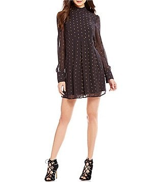 CATHERINE Catherine Malandrino Yvonne Mock Neck Long Sleeve Dress