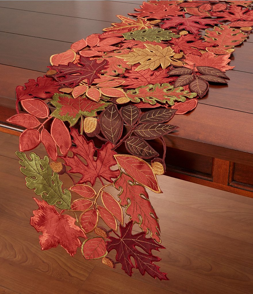 Homewear Autumn Jewels Embroidered Openwork Leaf Table Linens