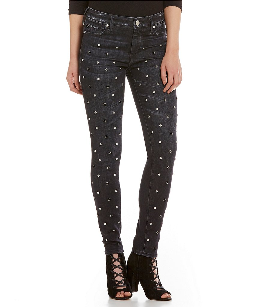 True Religion Halle Mid Rise Studded Skinny Jeans
